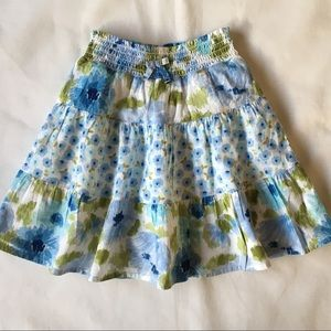 Gymboree midi Skirt 2T cotton blue flowers lined